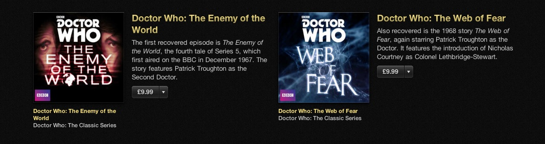 Lost Doctor Who episodes iTunes