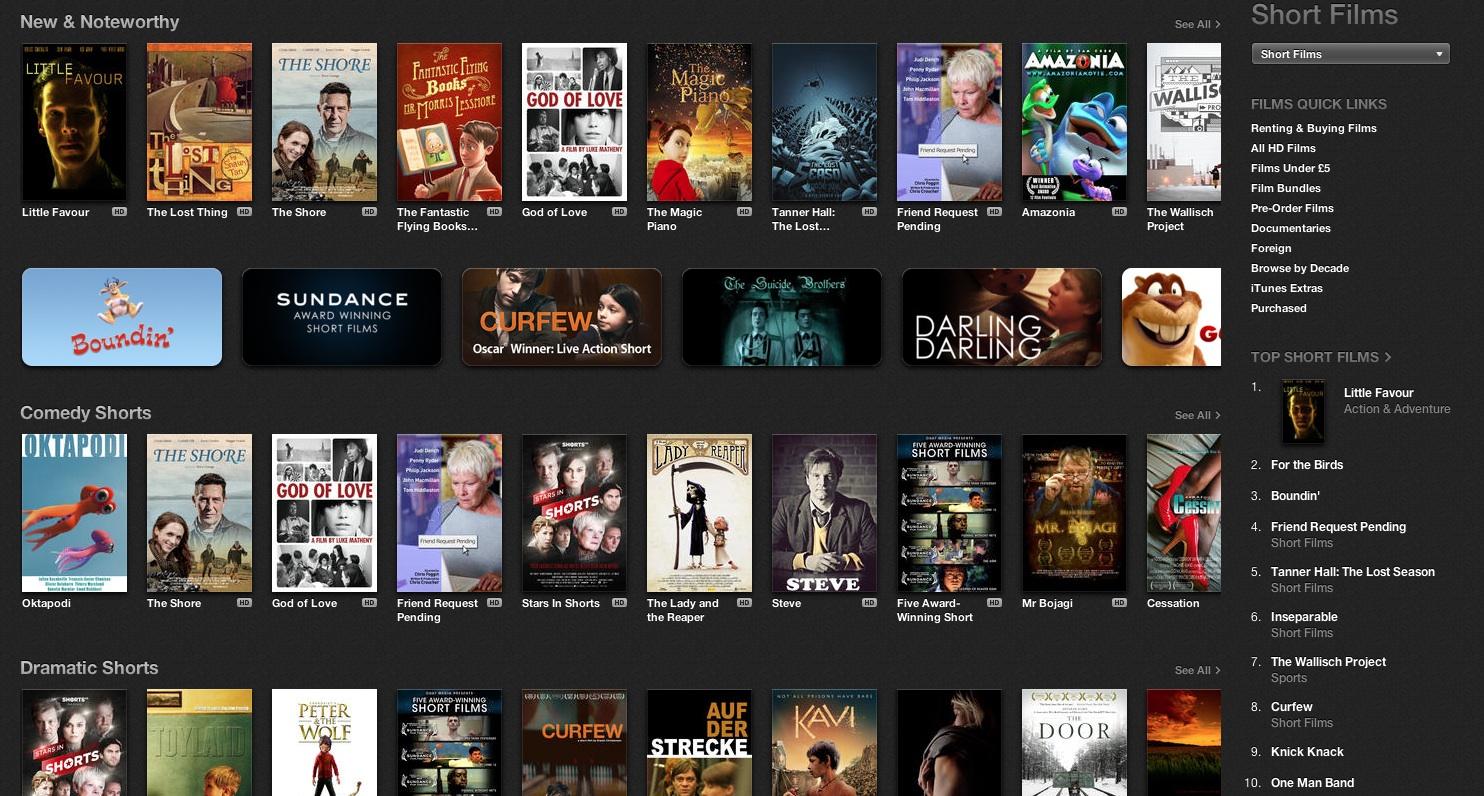 iTunes UK - top 10 short films