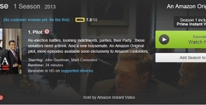Alpha House Amazon Prime Instant Video TV review