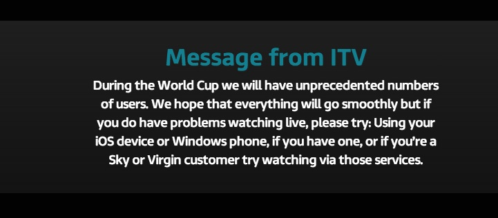 itv world cup message