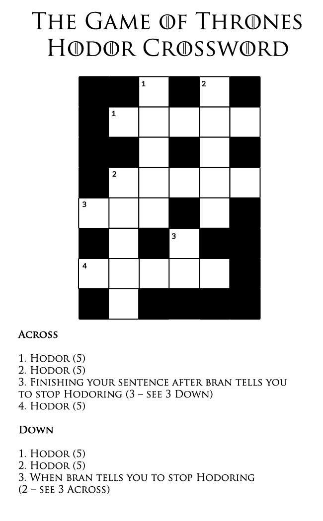 introducing u2026 the game of thrones hodor crossword
