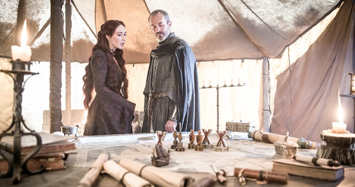 "Episode 7 ""The Gift"". Dillane, Stephen;van Houten, Carice as Stannis Baratheon;Melisandre"