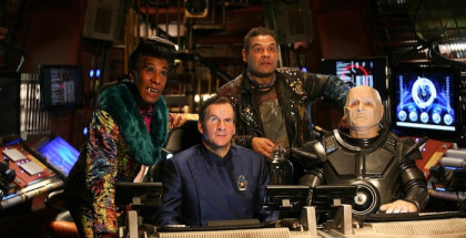 Red Dwarf - Series 10 - 2012 - Picture shows (L-R) Danny John-Jules as The Cat, Chris Barrie as Arnold Rimmer, Craig Charles as Dave Lister and Robert Llewellyn as Kryten