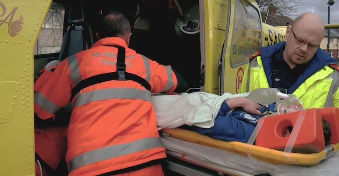 Programme Name: An Hour to Save Your Life - TX: 02/06/2015 - Episode: An Hour to Save Your Life - Series 2 - ep 1 (No. 1) - Picture Shows: Blake is loaded onto the air ambulance  - (C) Boundless - Photographer: Grab