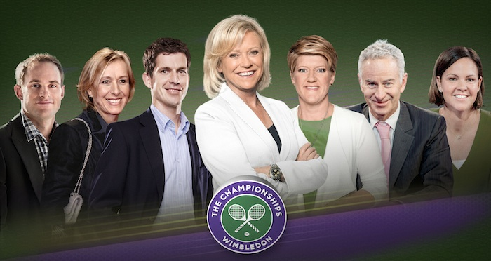 WARNING: Embargoed for publication until 09/06/2015 - Programme Name: Wimbledon - TX: n/a - Episode: n/a (No. n/a) - Picture Shows: *EMBARGOED UNTIL 12noon on TUESDAY 9th JUNE* Andy Roddick, Martina Navratilova, Tim Henman, Sue Barker, Clare Balding, John McEnroe, Lindsay Davenport - (C) BBC - Photographer: Ray Burmiston (Main image)