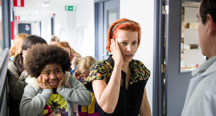 Programme Name: Cordon - TX: n/a - Episode: n/a (No. 1) - Picture Shows: Katja, a teacher on a tour of the Antwerp National Institute for Contagious Diseases when the alarm sounds Katja (VEERLE BAETENS) - (C) Medialaan - Photographer: -