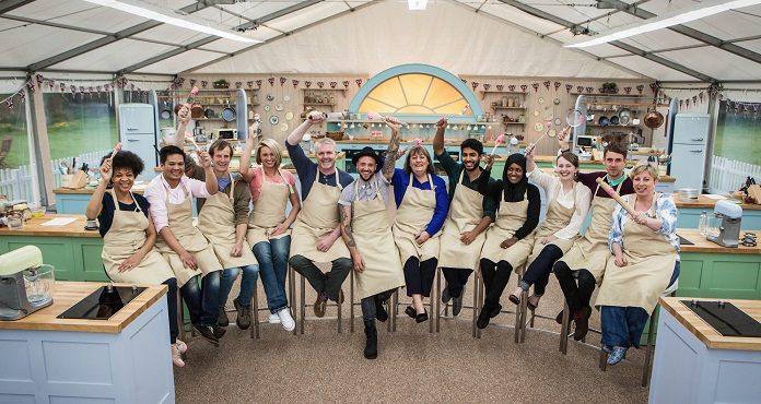 WARNING: Embargoed for publication until 28/07/2015 - Programme Name: The Great British Bake Off - TX: n/a - Episode: n/a (No. 1) - Picture Shows: +++Publication of this image is strictly embargoed until 00.01 hours Tuesday July 28th 2015+++ Dorret, Alvin, Ian, Ugne, Paul, Stu, Marie, Tamal, Nadiya, Flora, Mat, Sandy - (C) Love Productions - Photographer: Mark Bourdillon