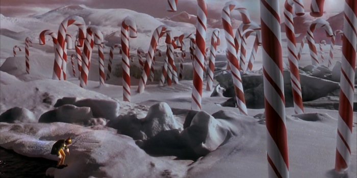 elf candy cane forest