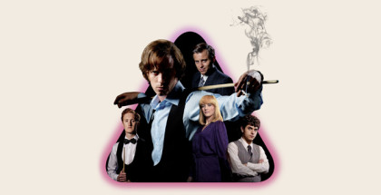 WARNING: Embargoed for publication until 00:00:01 on 05/01/2016 - Programme Name: The Rack Pack - TX: n/a - Episode: n/a (No. n/a) - Picture Shows:  Steve Davis (WILL MERRICK), Alex Higgins (LUKE TREADAWAY), Barry Hearn (KEVIN BISHOP), Lynn Higgins (NICHOLA BURLEY), Jimmy White (JAMES BAILEY) - (C) Zeppotron - Photographer: Kieron McCarron/Amanda Searle