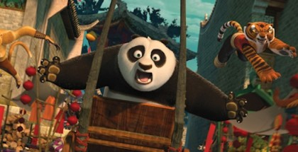 Po (Jack Black, center), Tigress (Angelina Jolie, right) and Monkey (Jackie Chan, left) are back in action chasing a runaway rickshaw in DreamWorks Animation's KUNG FU PANDA 2 to be released by Paramount on May 26, 2011.