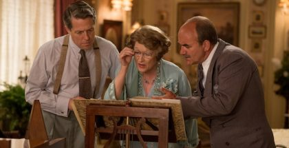 Hugh Grant (St Clair Bayfield), Meryl Streep (Floernce Foster Jenkins) and David Haig (Carlo Edwards) in Florence Foster Jenkins