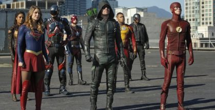 Stills from DC Crossover Episode Invasion! featuring Arrow, The Flash, Supergirl, and the DC Legends of Tomorrow