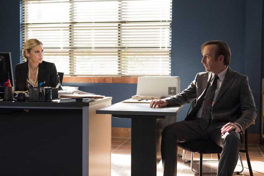 Bob Odenkirk as Jimmy McGill, Rhea Seehorn as Kim Wexler- Better Call Saul _ Season 3, Episode 1 - Photo Credit: Michele K. Short/AMC/Sony Pictures Television