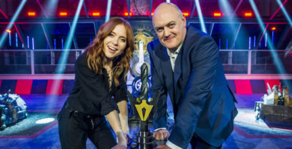 Programme Name: Robot Wars - TX: n/a - Episode: n/a (No. n/a) - Picture Shows:  Dara O Briain, Angela Scanlon - (C) Mentorn Media Scotland - Photographer: Alan Peebles