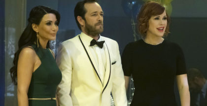 "Riverdale -- ""Chapter Eleven: To Riverdale and Back Again"" -- Image Number: RVD111a_0188.jpg -- Pictured (L-R): Marisol Nichols as Hermione Lodge, Luke Perry as Fred Andrews and Molly Ringwald as Mary Andrews -- Photo: Katie Yu/The CW -- © 2017 The CW Network. All Rights Reserved"