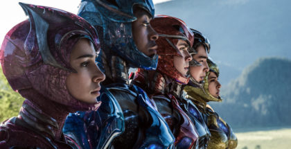 "From L to R: Naomi Scott as ""Kimberly,"" RJ Cyler as ""Billy,"" Dacre Montgomery as ""Jason,"" Ludi Lin as ""Zack"" and Becky G as ""Trini"" in SABAN'S POWER RANGERS. Photo credit: Kimberley French."