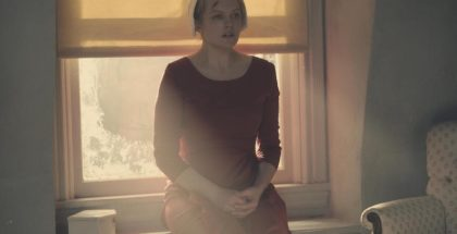 The Handmaid's Tale  -- Night -- Episode 110 -- Serena Joy confronts Offred and the Commander. Offred struggles with a complicated, life-changing revelation. The Handmaids face a brutal decision. Offred (Elisabeth Moss), shown. (Photo by: George Kraychyk/Hulu)
