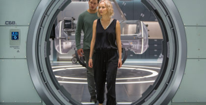 Jim (CHRIS PRATT) and Aurora (JENNIFER LAWRENCE) try to make sense of this mess in Columbia Pictures' PASSENGERS.