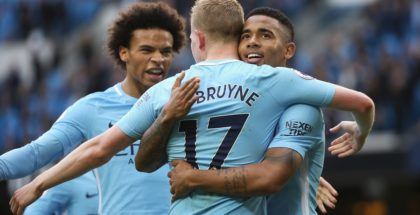 MANCHESTER, ENGLAND - OCTOBER 14: Gabriel Jesus of Manchester City celebrates scoring his sides fourth goal with Kevin De Bruyne of Manchester City during the Premier League match between Manchester City and Stoke City at Etihad Stadium on October 14, 2017 in Manchester, England.  (Photo by Tom Flathers/Manchester City FC via Getty Images)