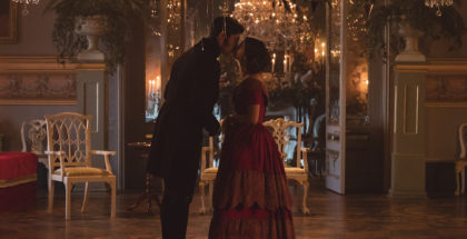 MAMMOTH SCREEN FOR ITVVICTORIA COMFORT AND JOYPictured: JENNA COLEMAN as Victoria and TOM HUGHES as Albert.This photograph is (C) iTV and can only be reproduced for editorial purposes directly in connection with the programme or event mentioned above. Once made available by ITV plc Picture Desk, this photograph can be reproduced once only up until the transmission [TX] date and no reproduction fee will be charged. Any subsequent usage may incur a fee. This photograph must not be manipulated [excluding basic cropping] in a manner which alters the visual appearance of the person photographed deemed detrimental or inappropriate by ITV plc Picture Desk.  This photograph must not be syndicated to any other company, publication or website, or permanently archived, without the express written permission of ITV Plc Picture Desk. Full Terms and conditions are available on the website www.itvpictures.comFor further information please contact: Patrick.smith@itv.com 0207 1573044