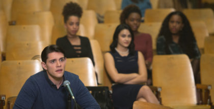 "Riverdale -- ""Chapter Six: Faster, Pussycats! Kill! Kill!"" -- Image Number: RVD106a_ 0196.jpg -- Pictured (L-R): Casey Cott as Kevin Keller, Hayley Law as Valerie, Camila Mendes as Veronica Lodge, Ashleigh Murray as Josie McCoy and Asha Bromfield as Melody -- Photo: Diyah Pera/The CW -- © 2017 The CW Network. All Rights Reserved"