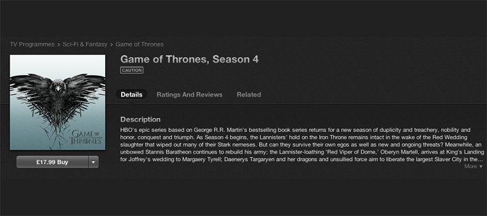 Game of Thrones is now on iTunes (along with other HBO shows)