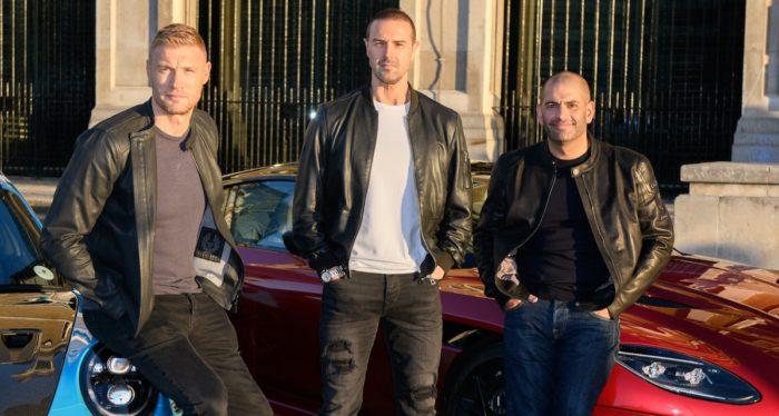Paddy McGuinness and Freddie Flintoff join Chris Harris behind Top Gear's wheel