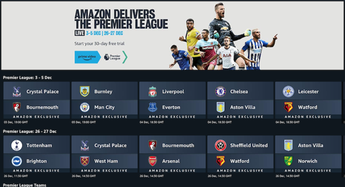 Premier League: What fixtures are showing on Amazon Prime Video?